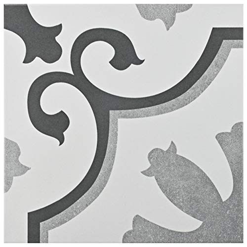 SomerTile FCG12VIE AUDE Classic Ceramic Floor and Wall Tile, 12.38