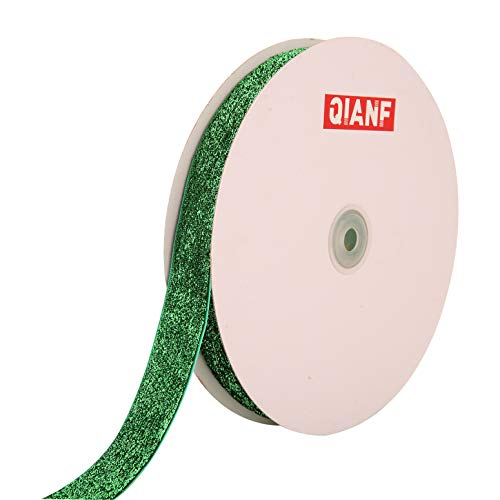QIANF Metallic Velvet Ribbon 25 Yards 1 Inch Sparkle Glitter Ribbon for Crafts, Christmas, Gift Wrapping, Card Making, Wedding Decor, Baby Shower, Floral Design (Green) - Green Floral Glitter