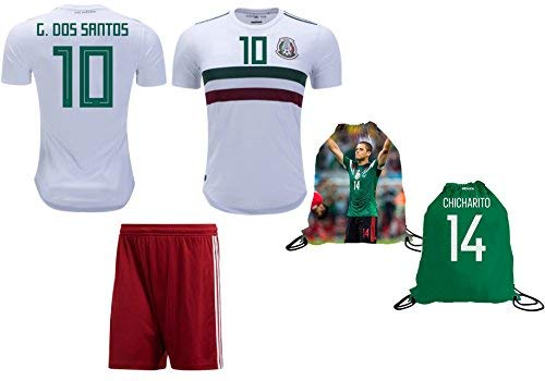Mexico Dos Santos  10 Soccer Jersey   Shorts Away World Cup Youth Kids  Sizes Premium Gift ✓ GIFT PACKAGING Soccer Backpack (YL 10-13 Years 0c09091b9