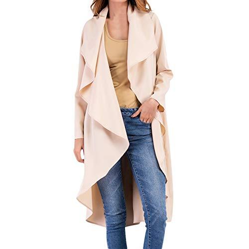 JPOQW-autumn Women's Long Windbreaker Ruffled Irregular Casual Loose Coat Long Trench Coat -