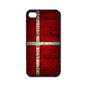 Flag of Denmark Brick Wall Design iPhone 5 and iPhone 5s Black Silcone Rubber Case - Fits iPhone 5 and iPhone 5s - Made of Silcone Rubber Providing Great Protection
