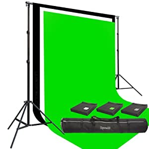 Three Prism 10x20' 100% Cotton Muslin Backdrops and The Ravelli Full Size 10x12' Background Stand Set