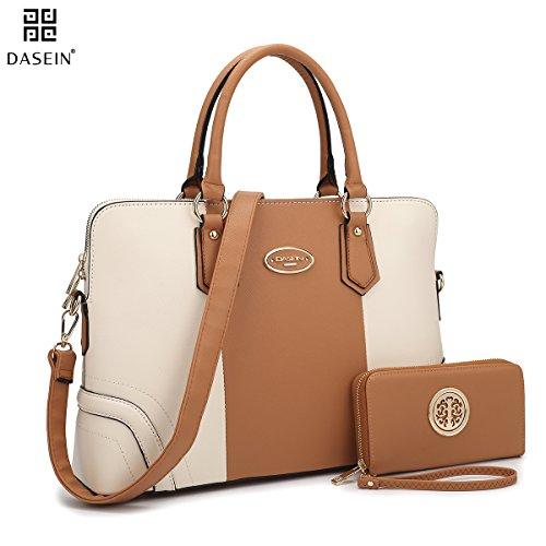 dasein-two-tone-slim-versatile-elegant-briefcase-with-matching-wallet-handbag-tote-purse-2-pcs-set-b