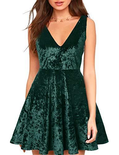 (Blooming Jelly Womens Deep V Neck Backless Mini Velvet Dress Sleeveless Black Cocktail A-Line Zipper Dresses (Medium, Green))