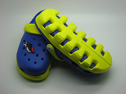 V Italia Blue Yellow Kids Clogs With Jibbets Outdoor Size 4-5 - Image 4