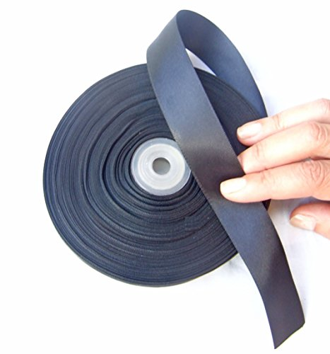 Black Satin Ribbon. High End Double Face Spool. 1 Inch 50 Yards Roll by Drency Ribbons