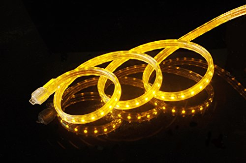 CBConcept UL Listed, 16.4 Feet,Super Bright 4500 Lumen, Yellow, Dimmable, 110-120V AC Flexible Flat LED Strip Rope Light, 300 Units 5050 SMD LEDs, Indoor/Outdoor Use, [Ready to use]