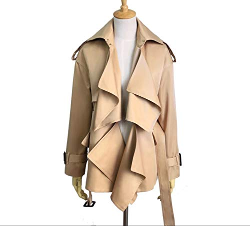 Belted Crepe Ruffle Trench Khaki Brown Jacket