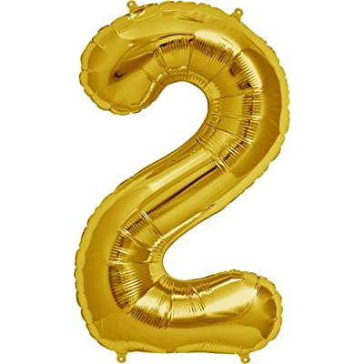 Northstar Balloons Number 2 - Gold Helium Foil Balloon - 34 inch: Toys & Games [5Bkhe0302005]