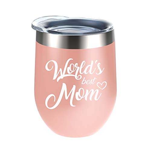 World's Best Mom Tumblers - Perfect Gifts for Mom, Mom's Birthday Gifts, Christmas Gifts for Mom, Thanksgiving Gifts for Mom, Mother's Day Gifts - 12 Oz (The World's Best Mom)