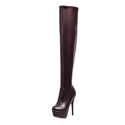 YE High Damen Overknee Stiefel High YE Heels Plateau Stiletto Stiefel mit Rote 24b9da