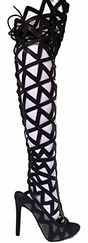 CR Elly Strappy Gladiator Over Knee Stiletto Heel Open To...
