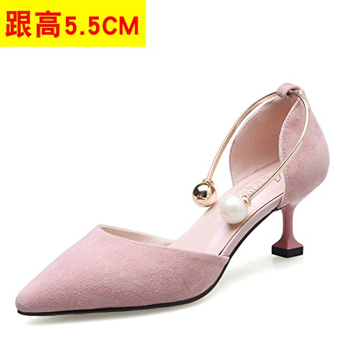 VIVIOO Women'S Sandals High-Heeled Sandals High-Heeled Shoessummer Tip High-Heeled Stiletto Shoes Sneakers Hollow Sandals Pearl Heel Shoes Cat Heels Pink 5.5CM