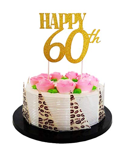 E&L Gold Glitter Happy 60th Birthday Cake Topper - Forever 60 Party Favors - 60th Birthday Party Decoration, 60th Anniversary Decoration ()