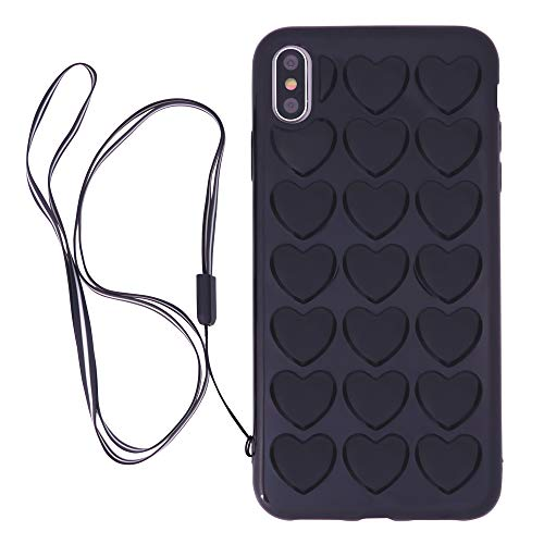 (iPhone Xs Max Case for Women, DMaos Cute Girly 3D Bubble Heart Cover with Crossbody Strap, Soft Rubber, Premium Kawaii for iPhone 10s Max 6.5 Inch - Black)