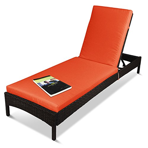 Outdoor Patio Adjustable Chaise Lounger Recliner Lounge Chair, Rust-Resistant Aluminum Frame, with Cushions- Brown&Orange