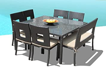 Outdoor Patio Wicker Furniture New Resin 8 Pc Square Dining Table Chairs Bench Set
