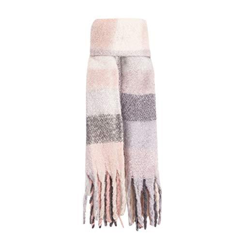 AOJIAN Women's Fashion Long Shawl Tassel Winter Warm Large Plaid Scarf Wrap Long Scarves(Pink,)