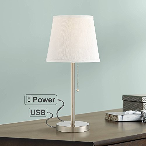 Flesner Modern Accent Table Lamp with Hotel Style USB and AC Power Outlet in Base Brushed Steel White Empire Shade for Living Room Family - 360 Lighting