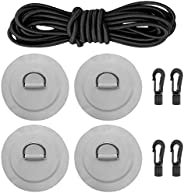 A 12 Ft 6MM Shock Cord with Hooks Bungee Deck Rigging Kit with 4 Stainless Steel D-Ring Patch Suit for PVC Inf