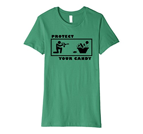Womens Protect your Candy Shirt Funny Halloween Trick or Treat Large Kelly Green