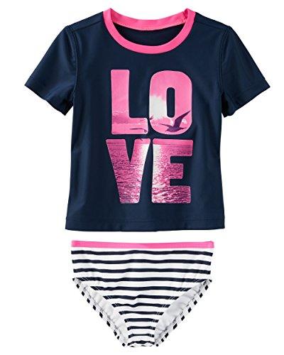 Osh Kosh Girls' Kids 2-Piece Swim, Blue Sunset Love, 6-6X - Girls 6 6x Swimsuit