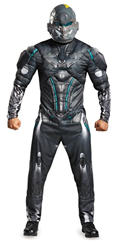 Disguise Men's Halo Spartan Locke Muscle Costume, Black, (Spartan Costumes Halo)