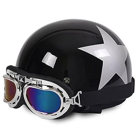Amazon.es: Rainbow_Road Casco de motocicleta abierto casco Halley casco Crash para moto scooter bicicleta con visera + gafas + bufanda (54 - 59 cm) negro ...