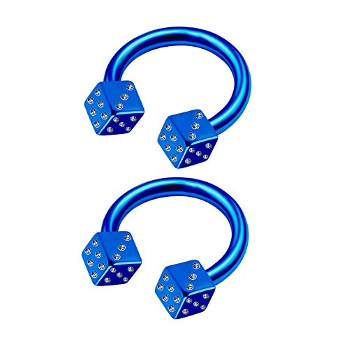 - 2Pcs Blue Anodized 16g 5/16 8mm Circular Barbell Earrings Piercing Jewelry Eyebrow Daith Rook Helix Tragus 3mm Dice M5949