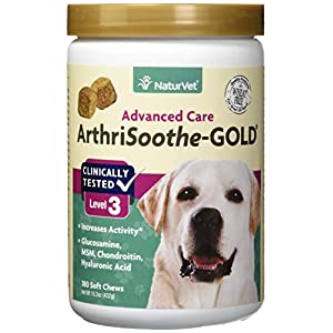 NaturVet – ArthriSoothe-Gold – Level 3 Advanced Joint Care – Supports Connective Tissue, Cartilage Health & Joint Movement – Glucosamine, MSM, Chondroitin & Green Lipped Mussel – 180 Soft Chews