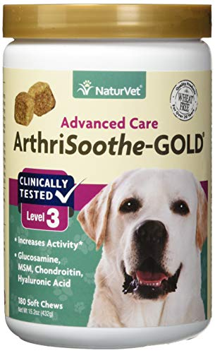 NaturVet - ArthriSoothe-Gold - Level 3 Advanced Joint Care - Supports Connective Tissue, Cartilage Health & Joint Movement - Glucosamine, MSM, Chondroitin & Green Lipped Mussel - 180 Soft - Care Advanced Glucosamine Joint