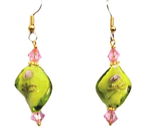 Olive Green & Pink Rose Twist Lampwork & Swarovski Crystal Beads Earring Set (1. FISH HOOKS - Surgical Steel) Green Fish Earring