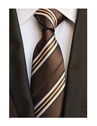 Brown Striped Woven Necktie - Men's Brown White Jacquard Woven Silk Ties Fashion Slim Cut Modern Self Neckties