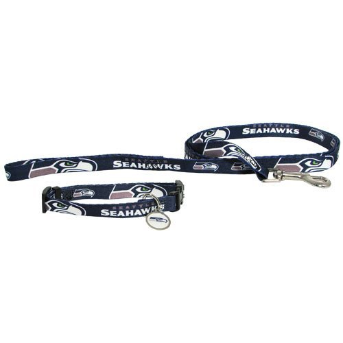 Hunter Seattle Seahawks Dog Pet Set Leash Collar ID Tag XS