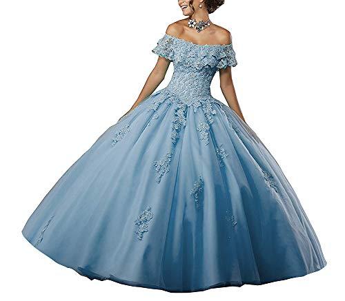 Bal Tulle Ciel Robes Jaeden De Dentelle Quinceanera Bleu Mariée Princesse Longue E1BPqwx7C