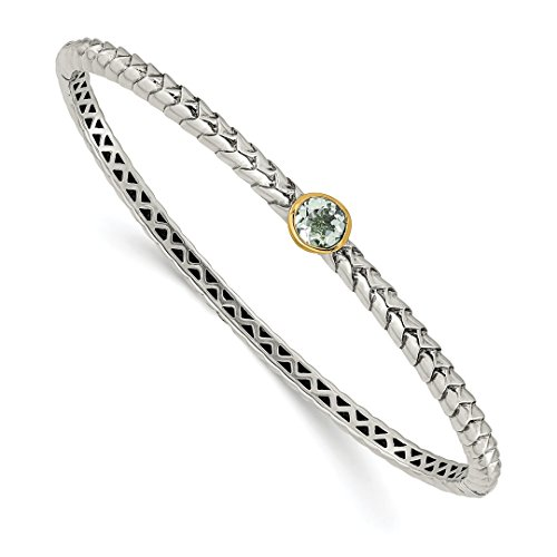 925 Sterling Silver 14k Green Quartz Bangle Bracelet Cuff Expandable Stackable Hinged Fine Jewelry Gifts For Women For Her