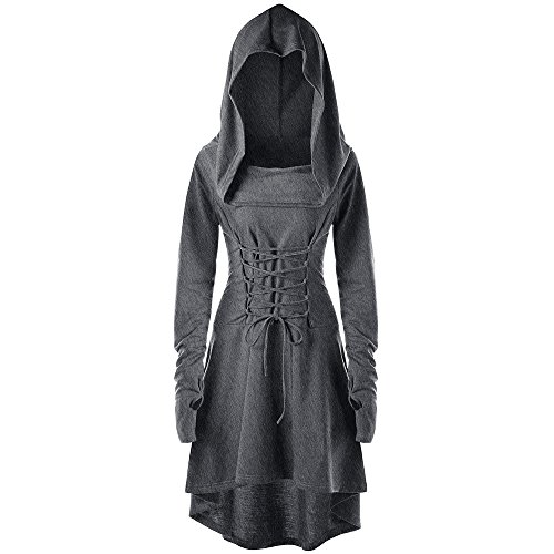 DEZZAL Women's Long Sleeve Front Lace Up High Low Pullover Long Hooded Dress (M, Dark Heather Gray)