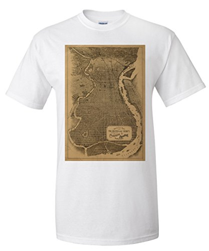 Philadelphia, Pennsylvania - (1871) - Panoramic Map (White T-Shirt XX-Large)
