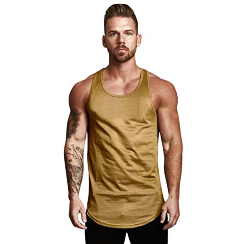 (FEDULK Men's Sports Vest Sleeveless Tank Tops Mesh Breathable Bodybuilding Body Shaper Fitness Solid Blouse(Brown, Medium))