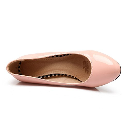 Pumps Women's Shoes Round Solid On WeenFashion High Patent Closed Pink Toe Leather Heels Pull RP7qBw