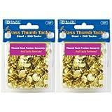 BAZIC Brass Thumb Tack, Gold, 200 Per Pack, 2 Pack (400 tacks) (1, GOLD)