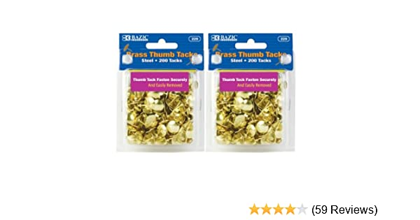 Amazon.com: BAZIC Brass Thumb Tack, Gold, 200 Per Pack, 2 Pack (400 tacks):  Office Products