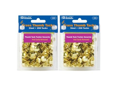 BAZIC Brass Thumb Tack, Gold, 200 Per Pack, 2 Pack (400 tacks)