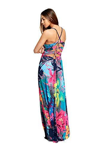 4662588cea7d ... BIHO® Damen Sommer Ring Plunge V-Ausschnitt Rücken Detail Floral Print  Lange Maxi Kleid