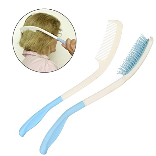 Long Reach Handled Comb and Hair Brush Set Applicable to elderly and hand-disabled people inconvenient upper limb activities (2 pcs) by Fanwer