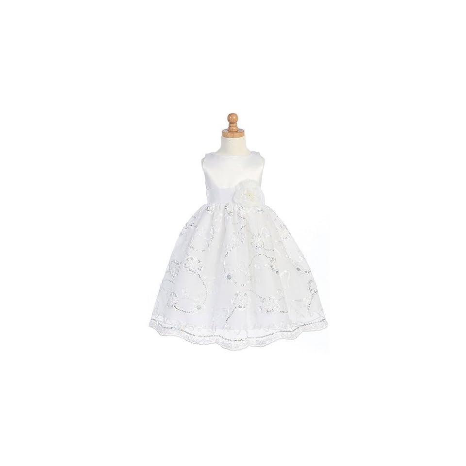 Lito Girls White Satin Flower Girl Easter Dress 2T Lito