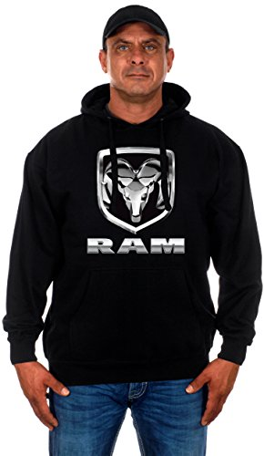 JH DESIGN GROUP Men's Dodge Ram Hoodie a Quality Pullover Hoodie for Men (X-Large, HD12-black)