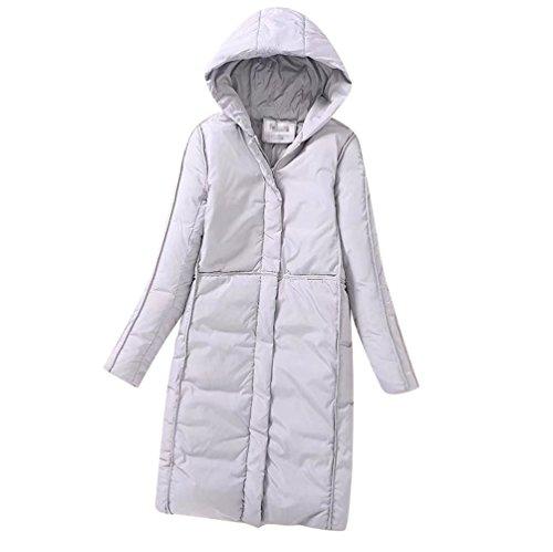 Jacket Pockets Winter Parka Warm Ladies Gray Hooded Anguang Women Long Zipper Coats HxI8aW7wq