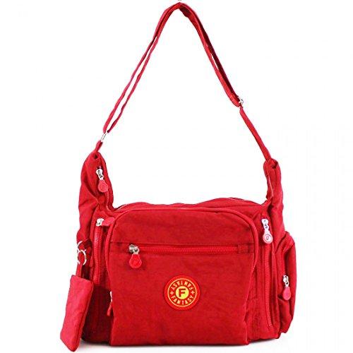 Ladies Multi Pockets Cross Body Messenger Bag Women Shoulder Tote Satchel Handbag Red