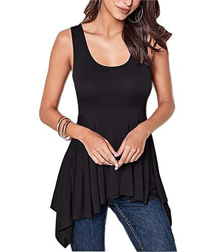 (Dellytop Womens Tank Tops Scoop Neck Asymmetric Ruffled Peplum Waist Sleeveless Shirts Black)